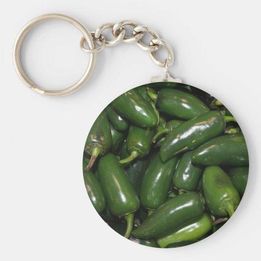 Flamin Jalepeno verde caliente sazona arte con pim Llaveros Personalizados