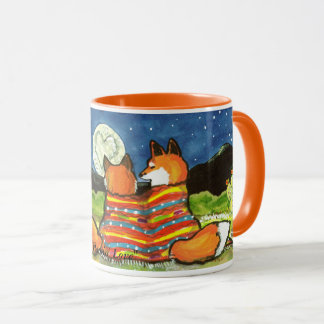 """Flamin' Love"" Two  Foxes Snuggle Under the Moon Mug"