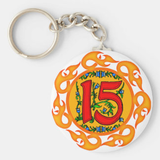 Flaming 15th Birthday Gifts Basic Round Button Keychain