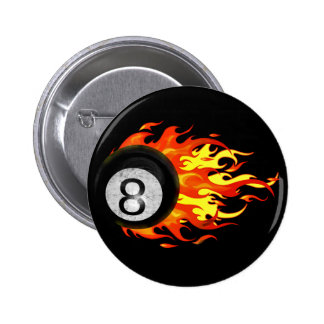Flaming 8 Ball 2 Inch Round Button