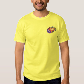 Flaming 8-ball embroidered T-Shirt