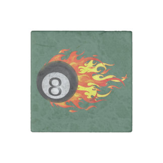 Flaming 8 Ball Stone Magnet