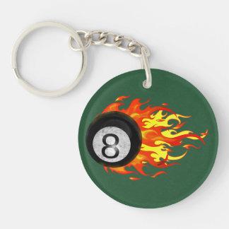 Flaming 8 Ball Acrylic Key Chain