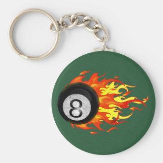 Flaming 8 Ball Key Chains