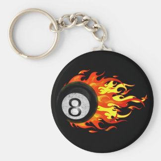 Flaming 8 Ball Keychains