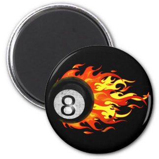 Flaming 8 Ball 2 Inch Round Magnet