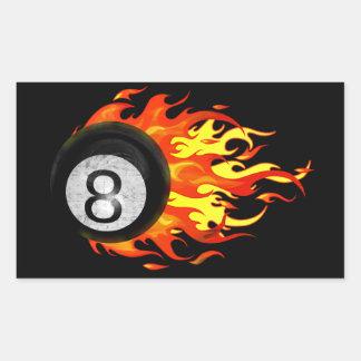 Flaming 8 Ball Rectangular Sticker