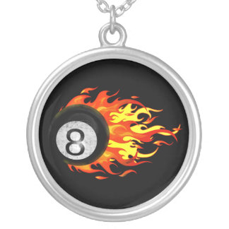 Flaming 8 Ball Silver Plated Necklace