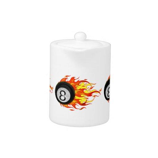 Flaming 8 Ball Teapot
