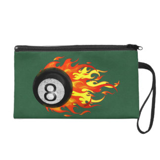 Flaming 8 Ball Wristlet Purse