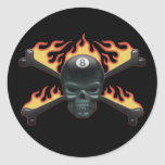 Flaming 8 Skull Classic Round Sticker