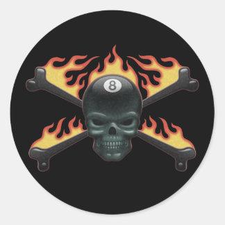 Flaming 8 Skull Classic Round Sticker