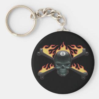 Flaming 8 Skull Keychain