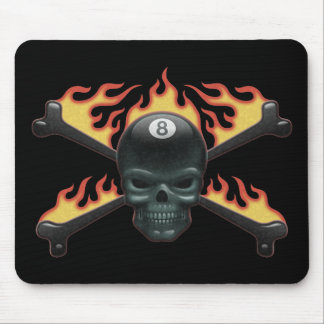 Flaming 8 Skull Mouse Pad