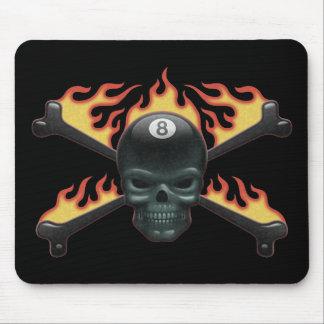 Flaming 8 Skull Mousepad