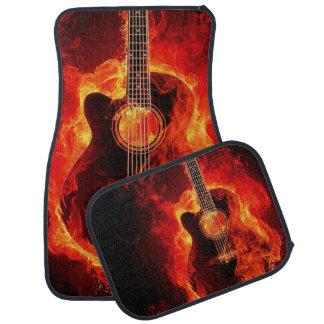 Flaming Acoustic Guitar Printed Car Floor Mat