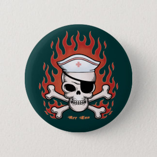Flaming Arr Enn Pinback Button