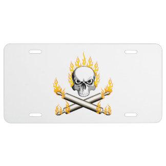 Flaming Baker Skull License Plate