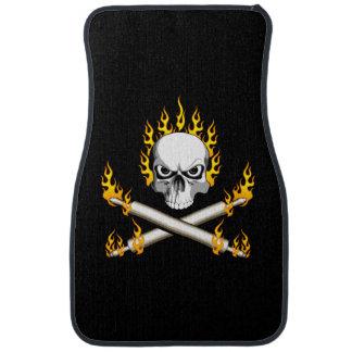 Flaming Baker Skull Car Mat