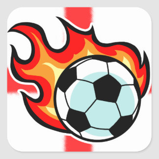Flaming Ball St George Flag Square Sticker