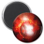 Flaming Baseball 2 Inch Round Magnet