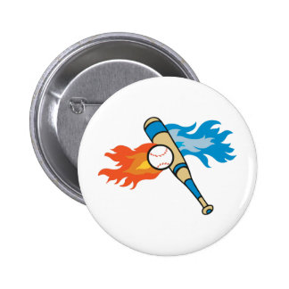 FLAMING BASEBALL AND BAT 2 INCH ROUND BUTTON