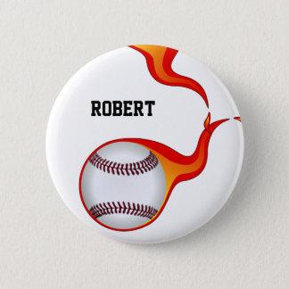 flaming baseball ball  badge pinback button