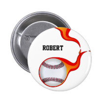 flaming baseball ball  badge pinback button