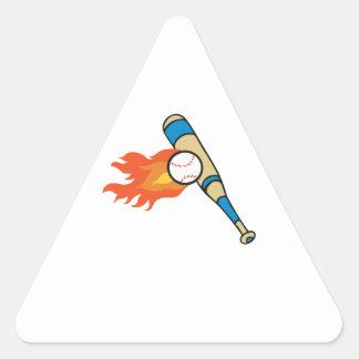 FLAMING BASEBALL BAT TRIANGLE STICKER