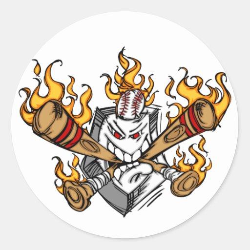Flaming Baseball Bats Cartoon Face Stickers