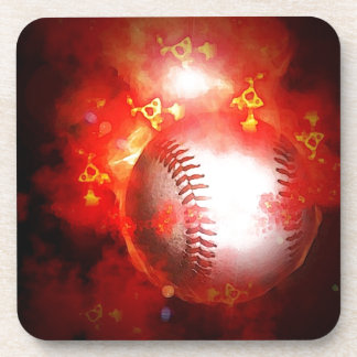 Flaming Baseball Beverage Coaster
