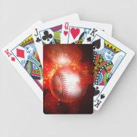 Flaming Baseball Bicycle Playing Cards