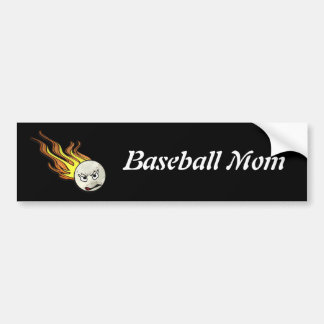 Flaming Baseball Bumper Sticker Car Bumper Sticker