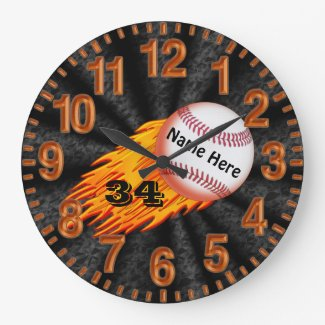 Flaming Baseball Clocks with YOUR NAME and NUMBER