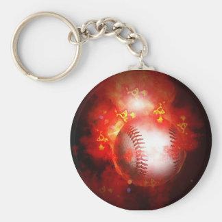 Flaming Baseball Keychain