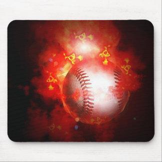 Flaming Baseball Mouse Pad