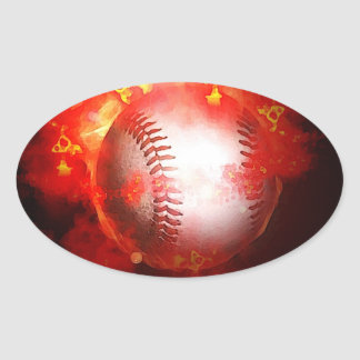 Flaming Baseball Oval Stickers