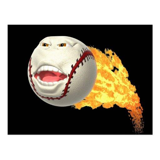 Flaming Baseball Postcard