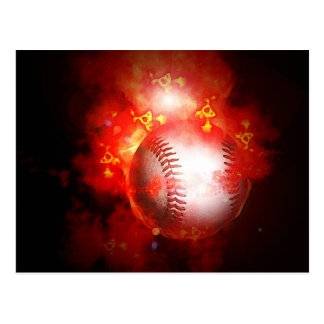 Flaming Baseball Postcard
