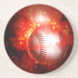 Flaming Baseball Sandstone Coaster