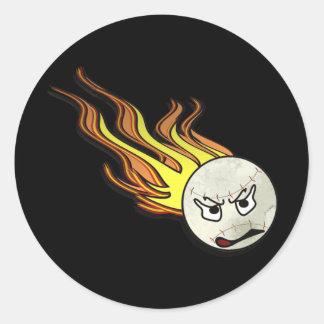 Flaming Baseball Stickers