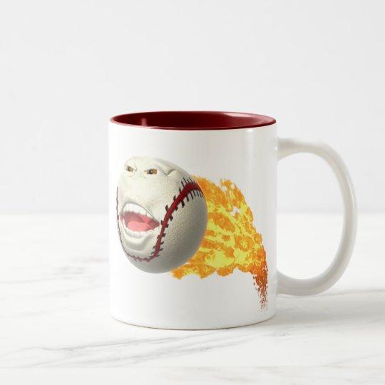 Flaming Baseball Two-Tone Coffee Mug