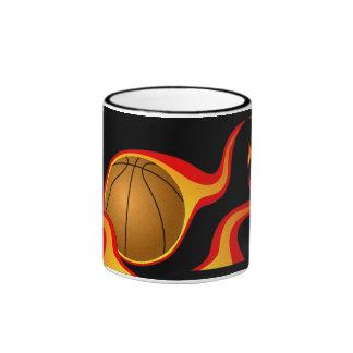 flaming basket ball coffee mugs