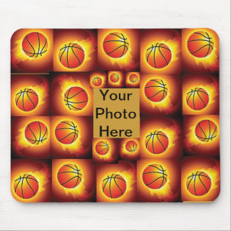 flaming basket ball mousepad