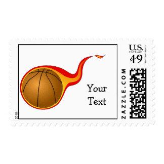 flaming basket ball postage