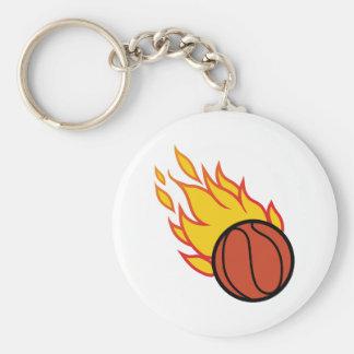 Flaming Basketball Appliqué Basic Round Button Keychain
