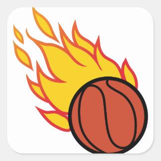 Flaming Basketball Appliqué Square Sticker
