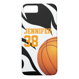 Flaming Basketball B/W iPhone 7 Case
