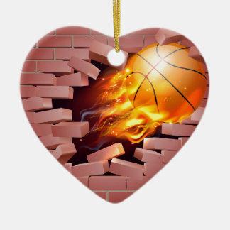 Flaming Basketball Ball Breaking Through Brick Wal Ceramic Ornament