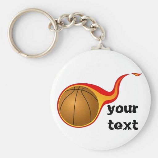 flaming basketball basic round button keychain